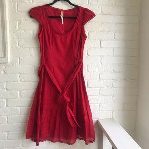 Anthropologie Maeve red short sleeve midi dress 4